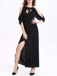 Stylish Hollow Out 3/4 Sleeve Self-Tie Women's Dress