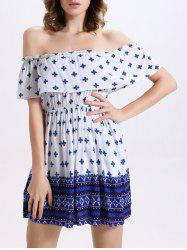 Stylish Off-The-Shoulder Tribal Print Women's Dress