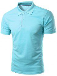 Slimming Turn-Down Collar Solid Color Short Sleeve Polo T-Shirt For Men -