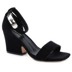 Suede Block Heel Ankle Strap Sandals - BLACK