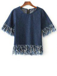 Stylish Fringed Zip Back Dark Denim T-Shirt
