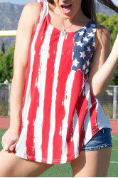 American Flag Print Patriotic Scoop Neck Tank Top - RED WITH WHITE XL
