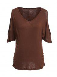 Trendy V-Neck Half Sleeve Cut Out Pure Color Women's T-Shirt -