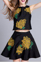 Embroidered Tank Top and Mini Ball Skirt Twinset -