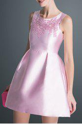 Round Collar Embroidered Ball Gown Dress -