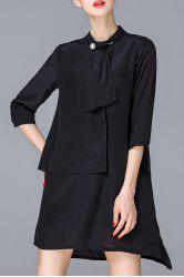 Stand Collar Solid Color Irregular Dress -