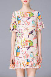 Round Collar Floral and Birds Print Ruffles Dress -
