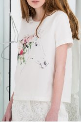 Floral and Horse Printed T-Shirt -