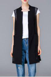 Cut Out Solid Color Long Vest -