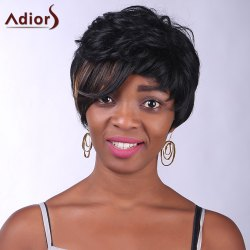 Fashion Side Bang Brown Highlight Charming Short Curly Synthetic Capless Wig For Women