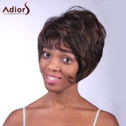 Fashion Fluffy Side Bang Brown Mixed Black Charming Short Straight Synthetic Capless Wig For Women - COLORMIX