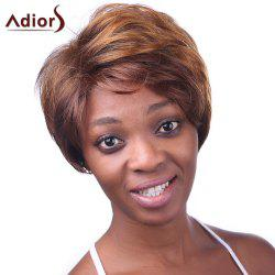 Elegant Short Side Bang Synthetic Vogue Fluffy Natural Wave Brown Mixed Wig For Women