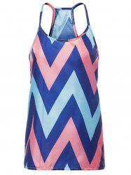 Sleeveless Spaghetti Strap Chevron Top - ORANGE