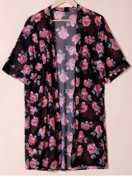 See Through Collarless Floral Print Kimono