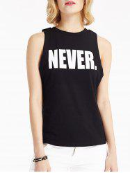 Stylish Round Neck Sleeveless Letter Women's T-Shirt