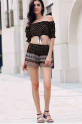 Tiny Floral Print Off Shoulder Crop Top and Shorts Women's Twinset -