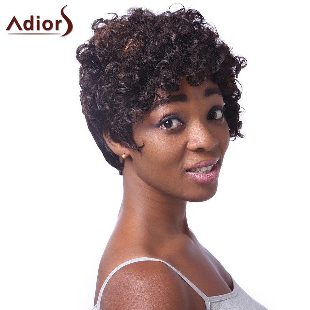 Fancy Spiffy Short Haircut Stunning Capless Fluffy Curly Brown Highlight Synthetic Wig For Women