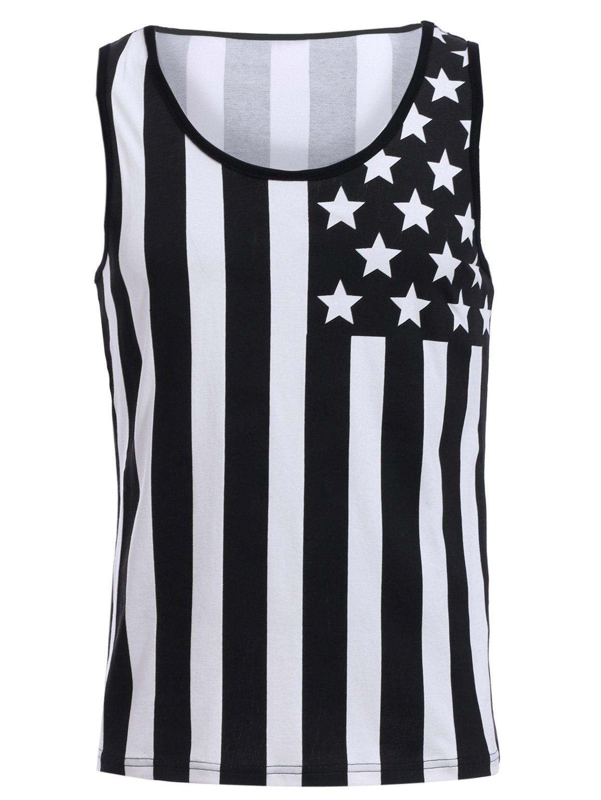 Cheap Fashion Round Neck American Flag Print Hit Color Tank Top For Men