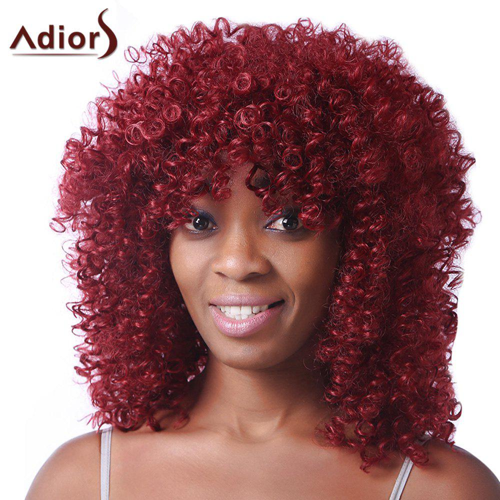 Best Trendy Red Medium Synthetic Fluffy Afro Curly Capless Wig For Women