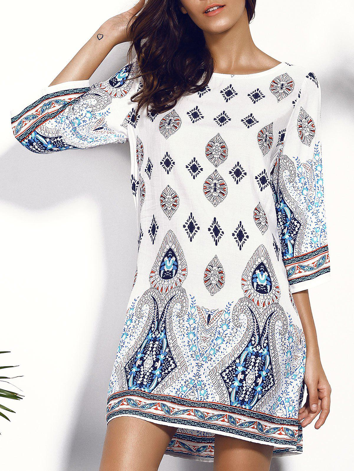 Printed Chiffon Backless Casual Shift DressWOMEN<br><br>Size: M; Color: COLORMIX; Style: Casual; Material: Cotton Blend; Silhouette: Straight; Dresses Length: Mini; Neckline: Scoop Neck; Sleeve Length: Half Sleeves; Pattern Type: Print; With Belt: No; Season: Summer; Weight: 0.150kg; Package Contents: 1 x Dress;