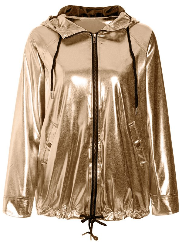 Chic Stylish Long Sleeve Loose-Fitting Golden Hoodie For Women