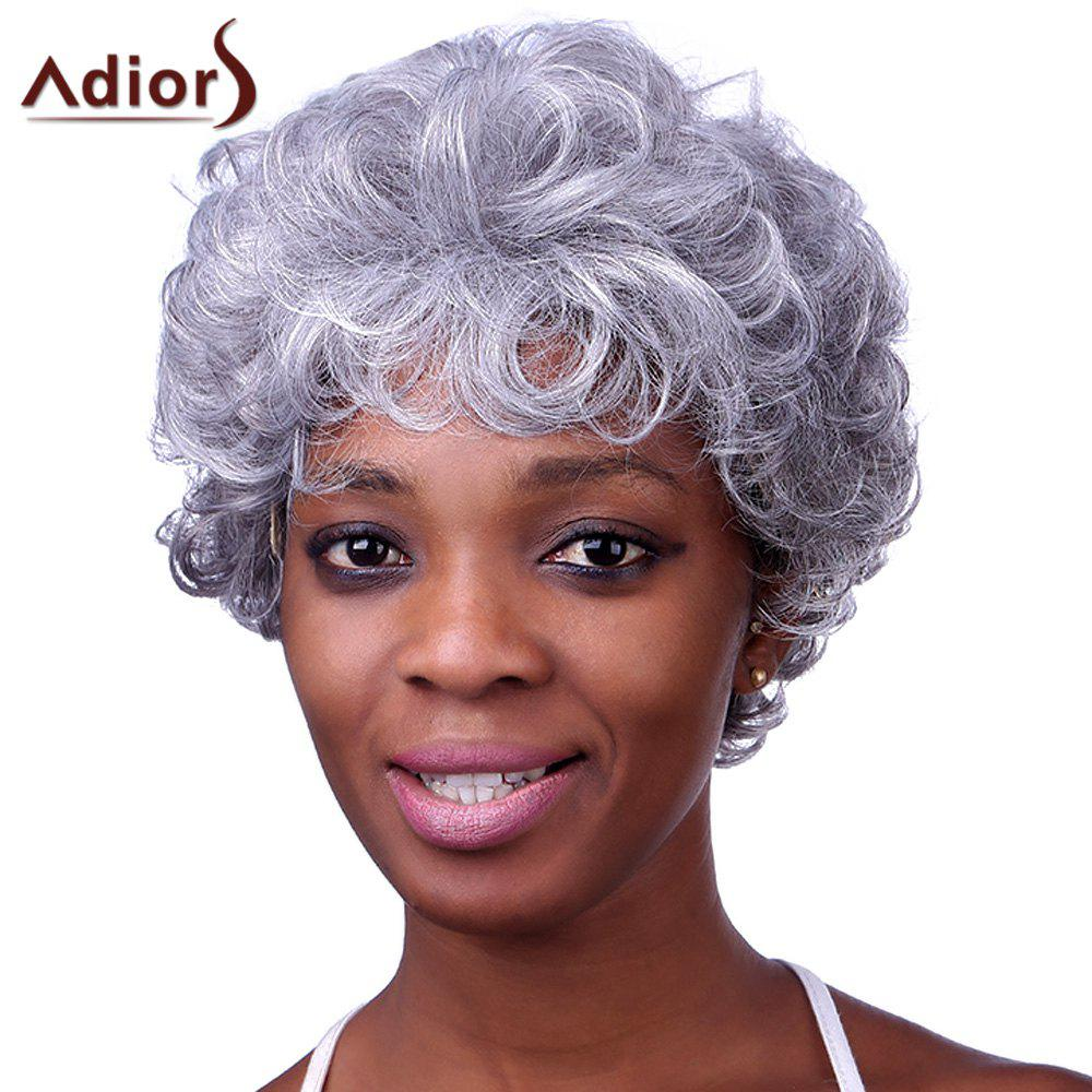 Stylish Silvery Gray Short Capless Fluffy Curly Heat Resistant Synthetic Adiors Wig For WomenHAIR<br><br>Color: COLORMIX; Type: Full Wigs; Cap Construction: Capless; Style: Curly; Material: Synthetic Hair; Bang Type: Side; Length: Short; Length Size(CM): 28; Weight: 0.144kg; Package Contents: 1 x Wig;