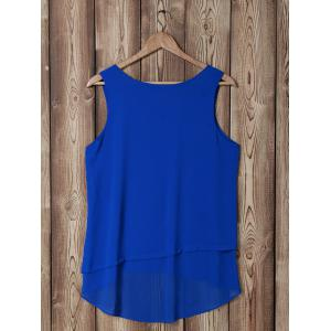 Stylish Scoop Neck Faux Twinset Design Sleeveless Blouse For Women -
