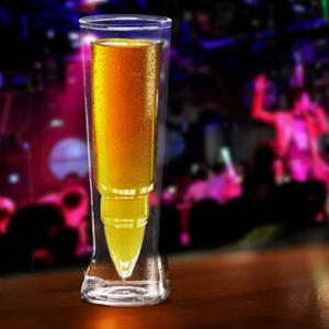Missile Shape Double Cup Transparent Juice Beer Glass -