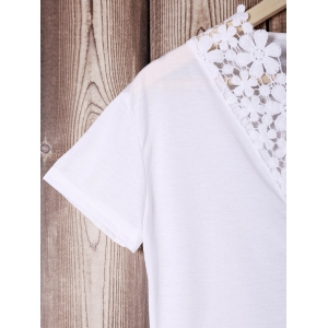 Trendy V-Neck Short Sleeve Lace Spliced Solid Color Women's T-Shirt - WHITE S