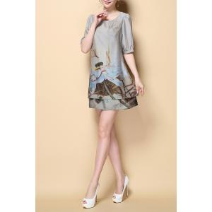 Stylish Round Neck Half Sleeve Printed Chiffon Women's Dress -