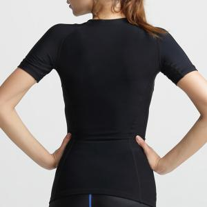 Active Style Scoop Neck Short Sleeves Solid Color Sport Top For Women -