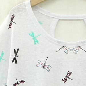 Plus Size Dragonfly Print Short Sleeve Women's T-Shirt -