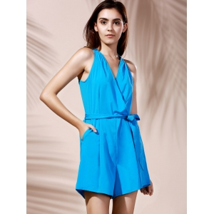 Fashionable V-Neck Sleeveless Pocket Design Pure Color Women's Romper -