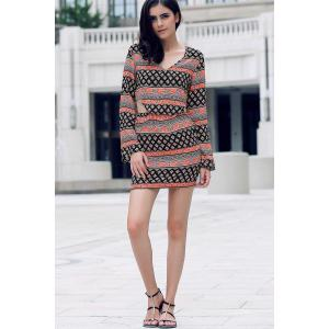 Trendy Tribal Print Long Sleeve Crop Top and Mini Skirt Women's Twinset -