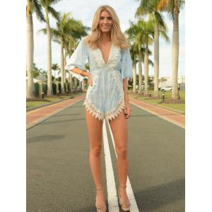 Stylish Plunging Neck Printed Lace Embellished Women's Romper - WATER BLUE L