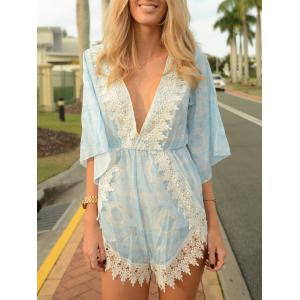 Stylish Plunging Neck Printed Lace Embellished Women's Romper - Water Blue - S