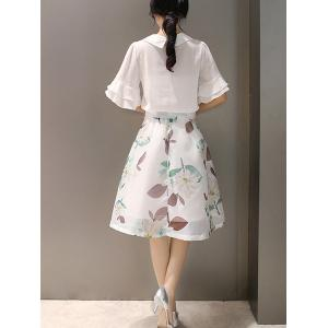 Women's Trendy 1/2 Sleeve Blouse + Floral Print Skirt -
