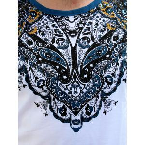 Vintage Round Neck Totem Print Color Block Short Sleeves Fitted T-Shirt For Men - WHITE M