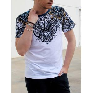 Vintage Round Neck Totem Print Color Block Short Sleeves Fitted T-Shirt For Men