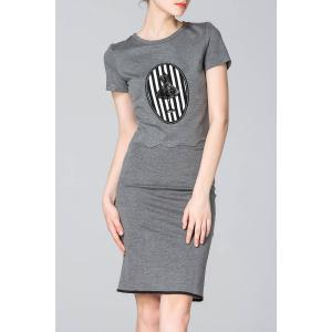 Sequined Cropped T-Shirt and Pencil Skirt Twinset -