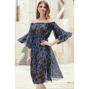 Off The Shoulder Printed Chiffon Dress - BLUE S
