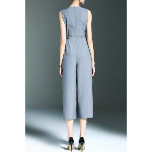 Stylish Round Neck Sleeveless Belted Solid Color Women's Jumpsuit -