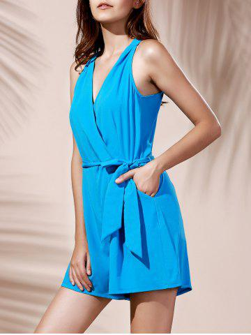Sale Fashionable V-Neck Sleeveless Pocket Design Pure Color Women's Romper