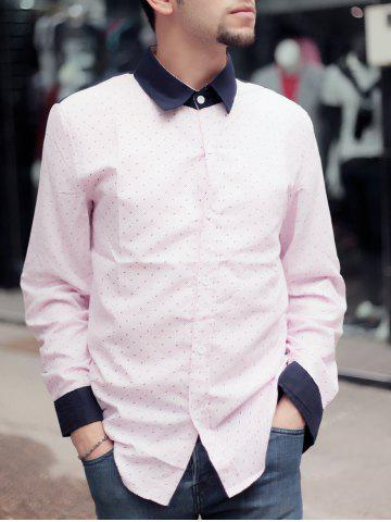 Online Fashion Shirt Collar Color Block Twill Splicing Slimming Long Sleeve Cotton Blend Shirt For Men PINK M