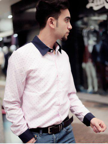 Best Fashion Shirt Collar Color Block Twill Splicing Slimming Long Sleeve Cotton Blend Shirt For Men - M PINK Mobile