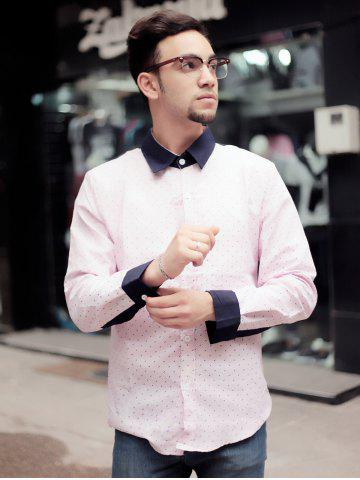 Trendy Fashion Shirt Collar Color Block Twill Splicing Slimming Long Sleeve Cotton Blend Shirt For Men - M PINK Mobile