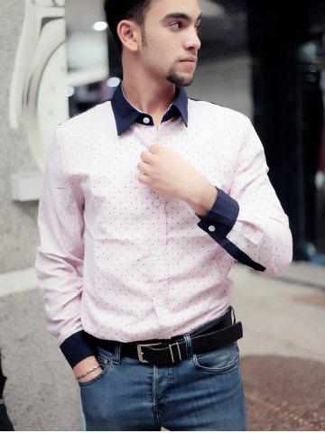 Shops Fashion Shirt Collar Color Block Twill Splicing Slimming Long Sleeve Cotton Blend Shirt For Men - XL PINK Mobile