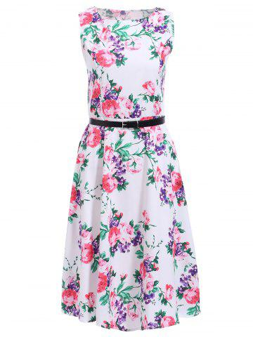 Shops Vintage Jewel Neck Sleeveless Floral Print Midi Dress For Women