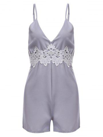 Outfits Plunging Neck Lace Backless Romper