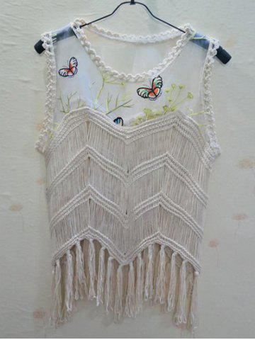 Trendy Chic Butterfly Pattern Spliced Fringed Asymmetrical Women's Cover-Up